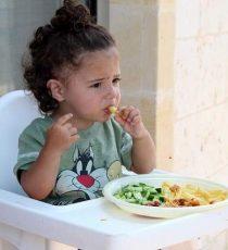 Bambina mangia nel seggiolone
